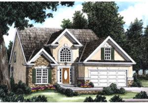 Illustration of Holland house plan entrance
