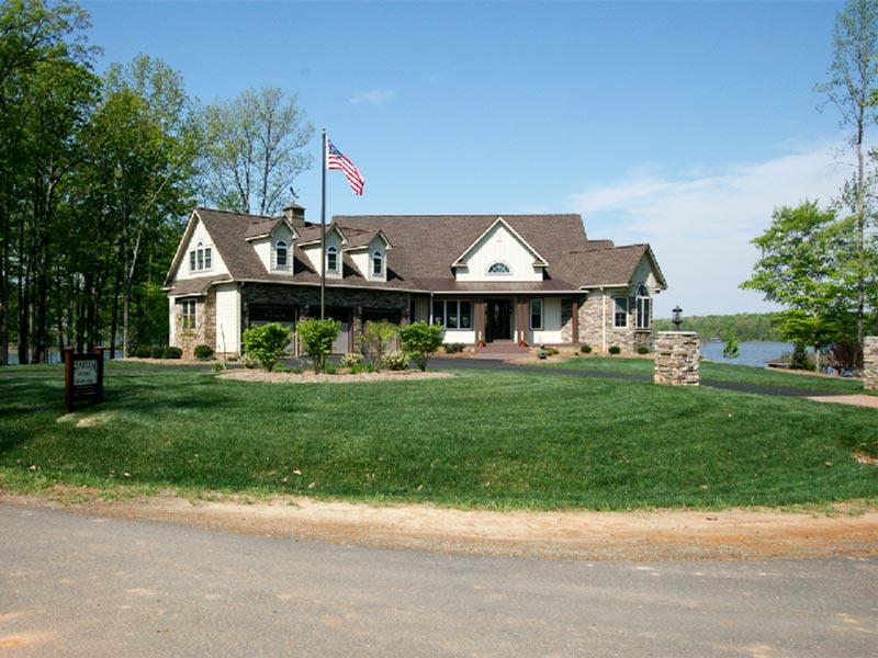Lake house backyard with American Flag