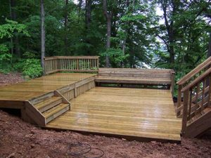 Wooden platform in the backyard