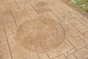 Compass engraved in the concrete floor