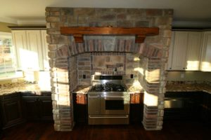 Brick wall around electric stove