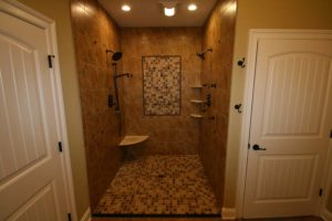 Brown tile built in shower