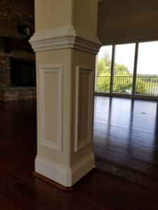 wide white pillar in the living room