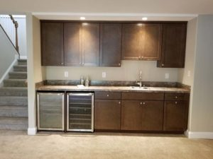Wall mounted wooden kitchen cabinets