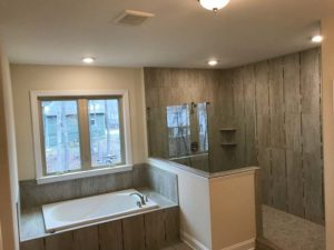 wooden wall panels in the bathroom
