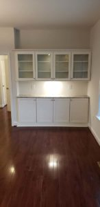 Empty white kitchen cabinets
