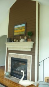Built in fireplace with painting above