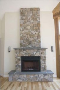 Brick wall mounted fireplace