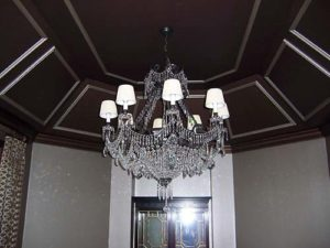 White chandelier in the hall