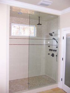 Glass panel in the shower