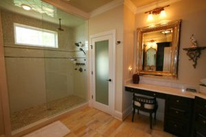 Shower wall panel in the bathroom