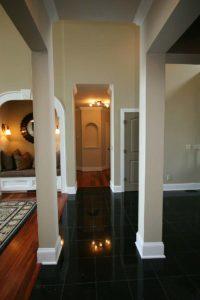 House hall with a dark tile floor
