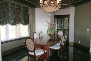Dining table with chairs and flowers